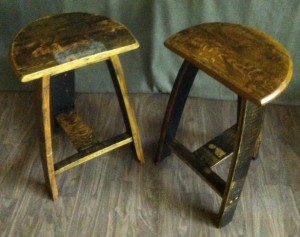 barrel stave stool pair